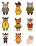 Conjunto del icono de la familia de gato de la historieta Foto de archivo
