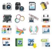 Conjunto del icono de la fotografía del vector stock de ilustración