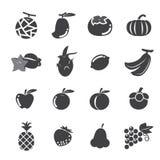 Conjunto del icono de la fruta Imágenes de archivo libres de regalías