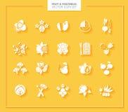 Conjunto del icono de la fruta y verdura Siluetas blancas Fotos de archivo libres de regalías