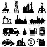 Conjunto del icono de la industria de petróleo Imagen de archivo libre de regalías