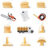 Conjunto del icono de la madera de construcción del vector Imagen de archivo libre de regalías