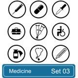 Conjunto del icono de la medicina Foto de archivo libre de regalías