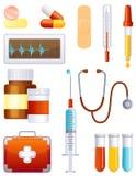 Conjunto del icono de la medicina Imagen de archivo