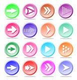 Conjunto del icono de la muestra de la flecha Botón simple de Internet de la forma del círculo en pizca stock de ilustración