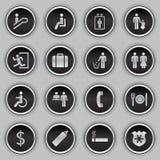Conjunto del icono de la muestra del edificio stock de ilustración