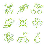 Conjunto del icono de la naturaleza Imagenes de archivo