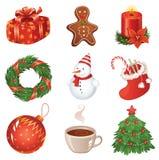 Conjunto del icono de la Navidad Fotos de archivo