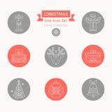 Conjunto del icono de la Navidad Colección de línea creativa elementos del diseño del estilo stock de ilustración