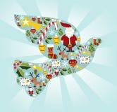 Conjunto del icono de la Navidad en la paloma de la dimensión de una variable de la paz Foto de archivo libre de regalías