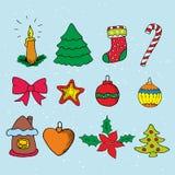 Conjunto del icono de la Navidad Feliz Navidad stock de ilustración