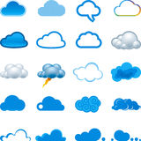 Conjunto del icono de la nube Fotografía de archivo libre de regalías