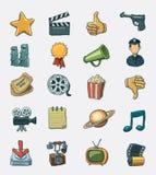 Conjunto del icono de la película Fotos de archivo libres de regalías