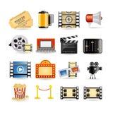 Conjunto del icono de la película Imágenes de archivo libres de regalías