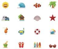 Conjunto del icono de la playa del vector Fotos de archivo libres de regalías