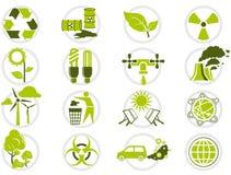 Conjunto del icono de la protección del medio ambiente Imagenes de archivo