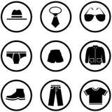 Conjunto del icono de la ropa de los hombres Fotografía de archivo libre de regalías