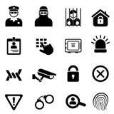 Conjunto del icono de la seguridad y de la seguridad Foto de archivo libre de regalías