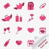 Conjunto del icono de la tarjeta del día de San Valentín Imagenes de archivo