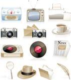 Conjunto del icono de la vendimia del vector Fotos de archivo