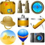 Conjunto del icono de las aventuras Fotografía de archivo