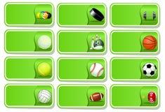 Conjunto del icono de las bolas del deporte Imagen de archivo