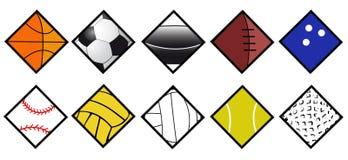 Conjunto del icono de las bolas del deporte Fotos de archivo libres de regalías