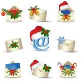 Conjunto del icono de las cartas de la Navidad Imagenes de archivo