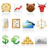 Conjunto del icono de las finanzas. Foto de archivo libre de regalías