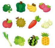 Conjunto del icono de las frutas y verdura de la historieta Foto de archivo