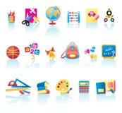Conjunto del icono de las fuentes de escuela Imagen de archivo libre de regalías