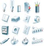 Conjunto del icono de las fuentes eléctricas del vector Imágenes de archivo libres de regalías