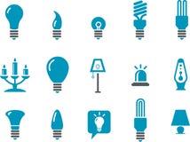 Conjunto del icono de las lámparas Foto de archivo libre de regalías