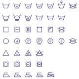 Conjunto del icono de las muestras que se lava Fotos de archivo libres de regalías