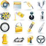 Conjunto del icono de las piezas del coche del vector Fotografía de archivo libre de regalías