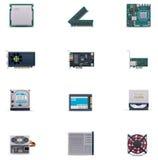Conjunto del icono de las piezas del ordenador de vector Imágenes de archivo libres de regalías