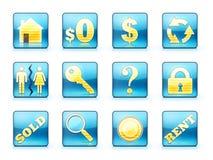 Conjunto del icono de las propiedades inmobiliarias Imagen de archivo