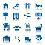 Conjunto del icono de las propiedades inmobiliarias Fotografía de archivo