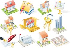 Conjunto del icono de las propiedades inmobiliarias del vector Foto de archivo