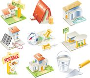 Conjunto del icono de las propiedades inmobiliarias del vector Imagenes de archivo