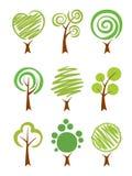 Conjunto del icono de los árboles Imagen de archivo libre de regalías