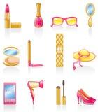 Conjunto del icono de los accesorios de las mujeres. Imagen de archivo libre de regalías