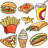 Conjunto del icono de los alimentos de preparación rápida Foto de archivo libre de regalías