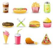 Conjunto del icono de los alimentos de preparación rápida. ilustración del vector