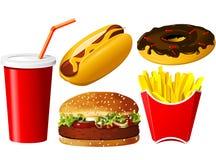 Conjunto del icono de los alimentos de preparación rápida Imagen de archivo