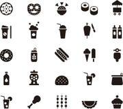 Conjunto del icono de los alimentos de preparación rápida ilustración del vector