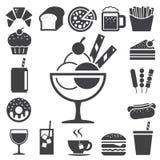 Conjunto del icono de los alimentos de preparación rápida y del postre. Imágenes de archivo libres de regalías