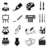 Conjunto del icono de los artes Fotografía de archivo