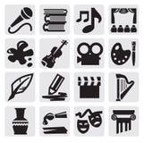 Conjunto del icono de los artes Imágenes de archivo libres de regalías