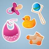 Conjunto del icono de los juguetes del bebé Fotografía de archivo